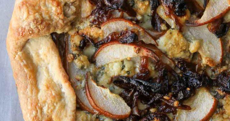 Pear and Gorgonzola Galette with Caramelized Onions