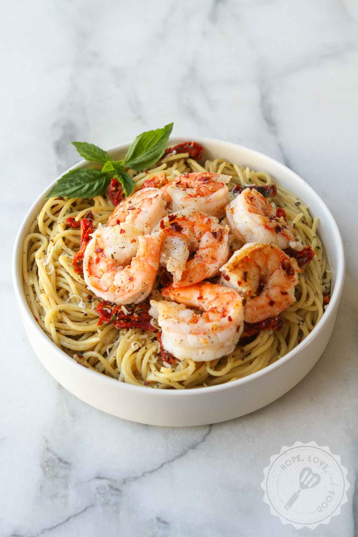 Shrimp on garlic pasta.