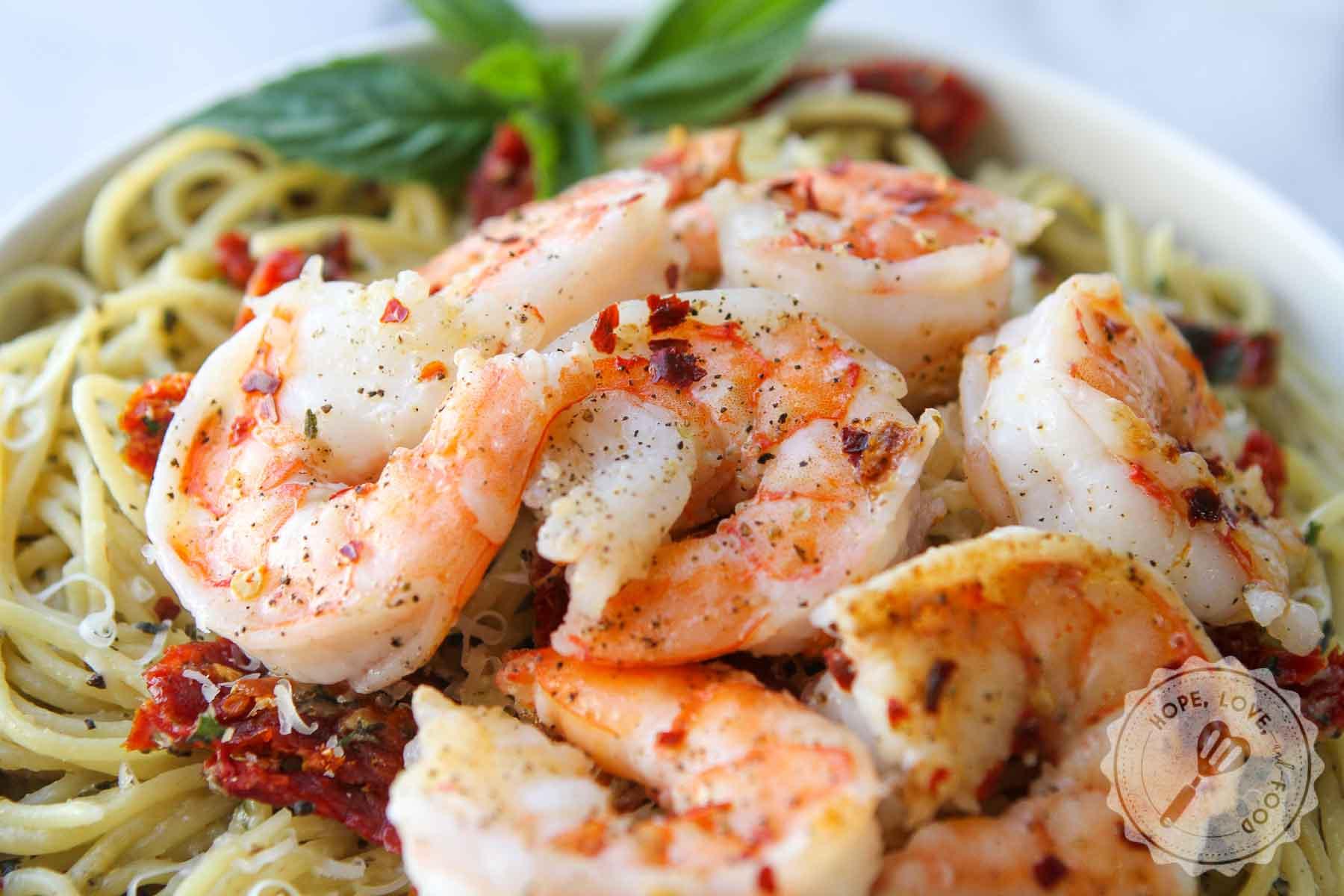 Shrimp on garlic pasta.