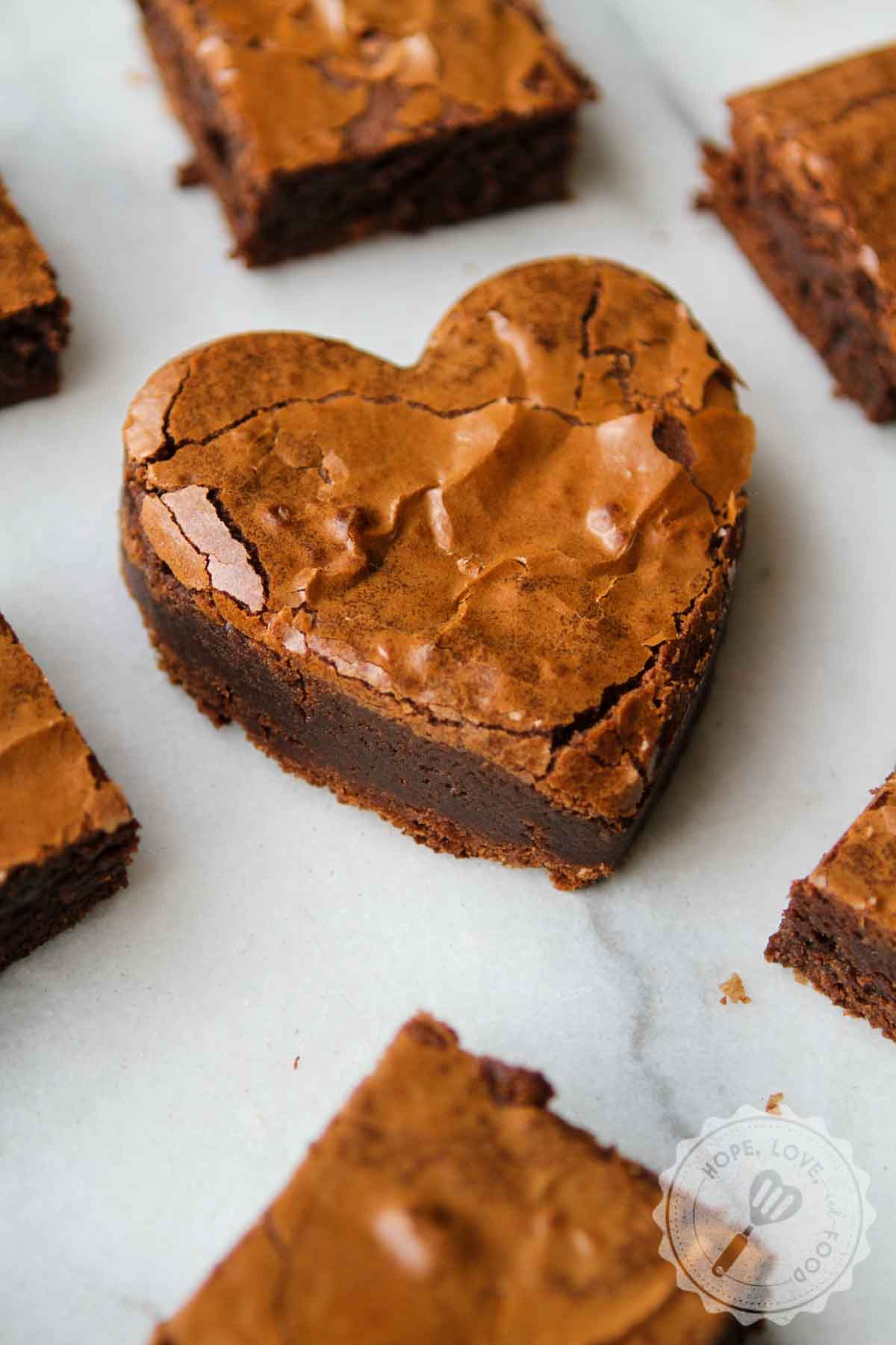 Heart-shaped brownie.