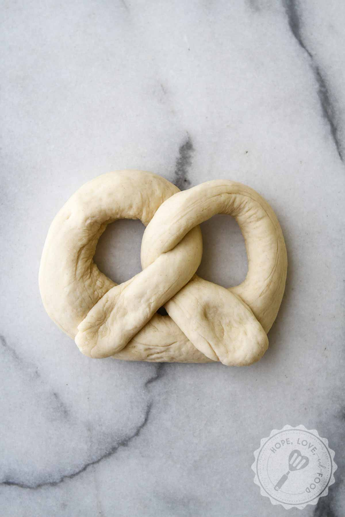 Shaping soft pretzel dough