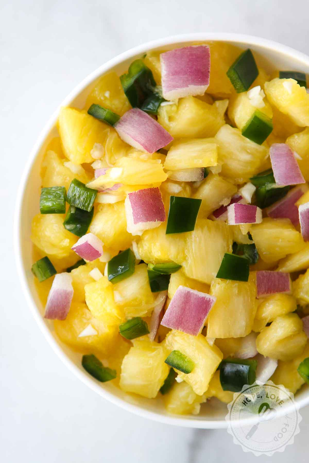 Pineapple poblano pepper salsa.