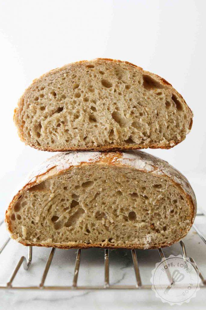 Sourdough bread crumb.