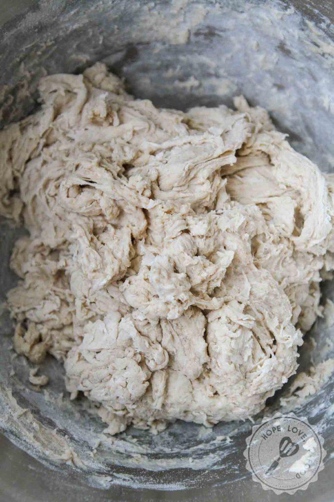 Shaggy sourdough bread dough.