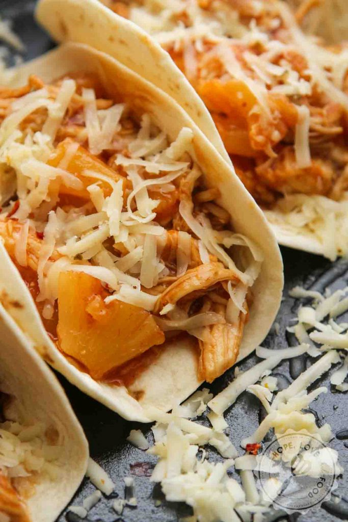 Pineapple BBQ chicken tacos